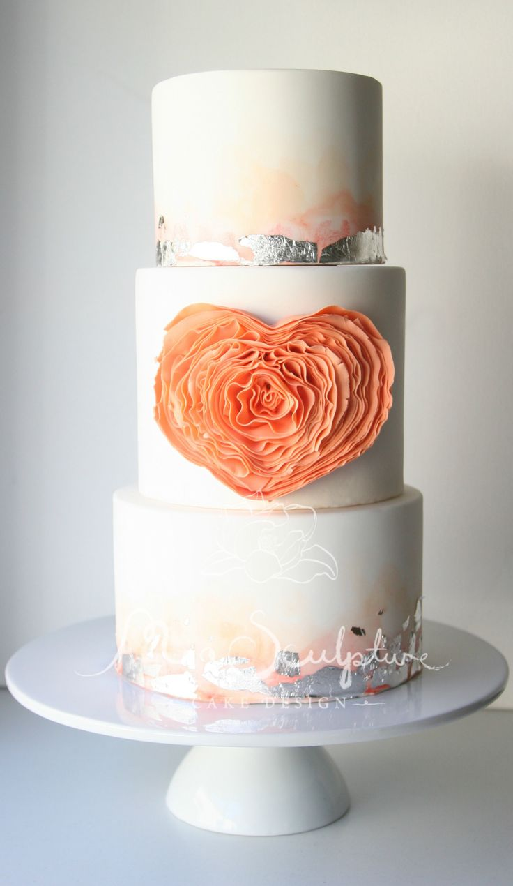 Orange and Silver Wedding Cake