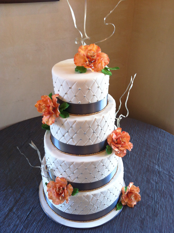 Orange Fondant Wedding Cake