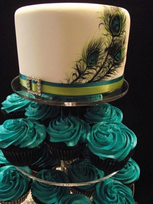 Peacock Wedding Cake and Cupcakes