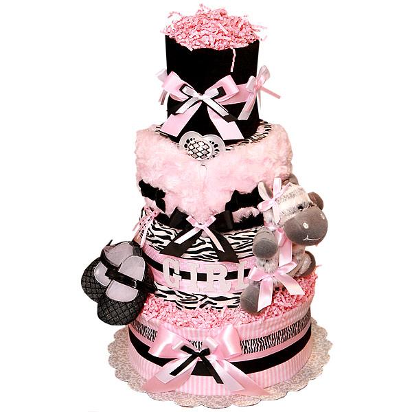 Pink and Black Zebra Diaper Cake