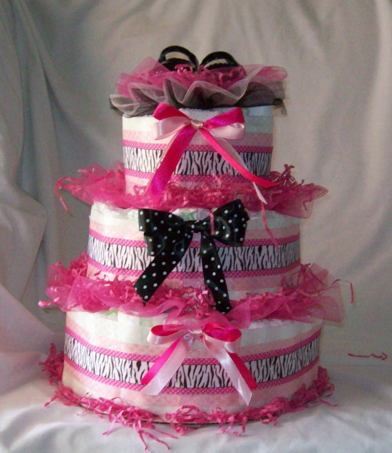 Pink Baby Girl Diaper Cakes