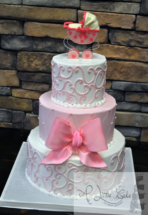 9 Photos of Double Tier Baby Shower Cakes