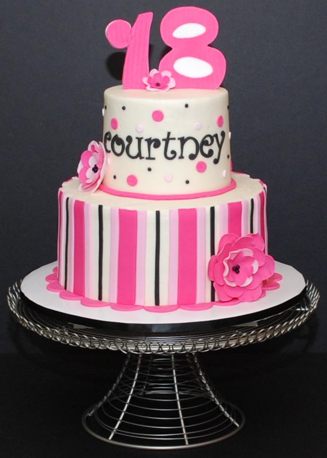 Pink Black and White Birthday Cake