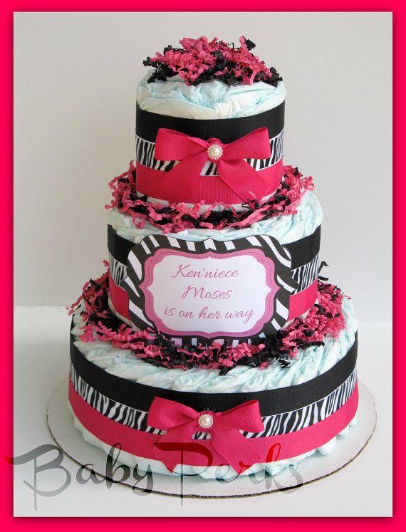 Pink Safari Baby Shower Diaper Cake