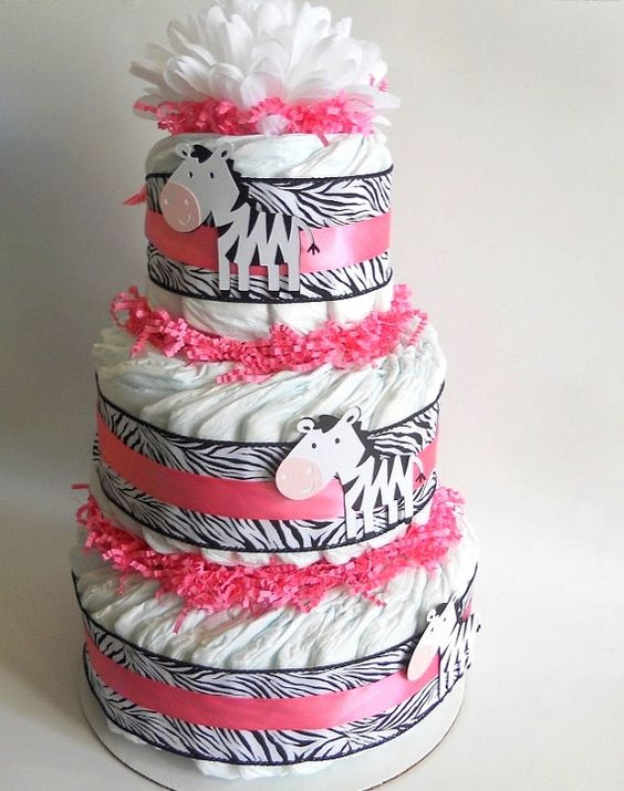 Pink Zebra Baby Shower Diaper Cake