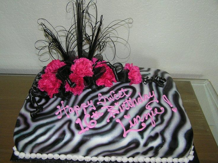Pink Zebra Birthday Sheet Cake