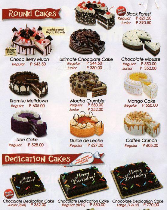 Red Ribbon Cake Philippines Price List