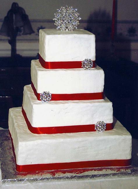 Red Ribbon Wedding Cake