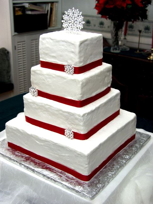 Red Wedding Cake with Ribbon