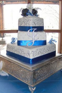 Royal Blue 3 Tier Square Wedding Cake