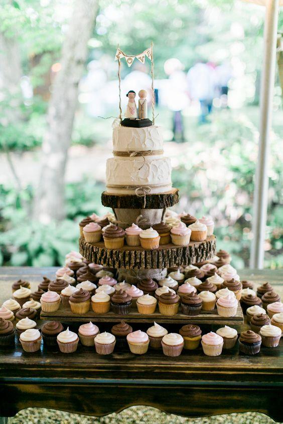 Rustic Wedding Cake Cupcake Stand