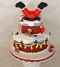 Santa Stuck in a Chimney Upside Down Cake