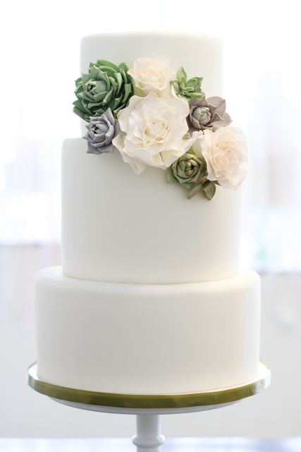 Simple Wedding Cake with Succulents