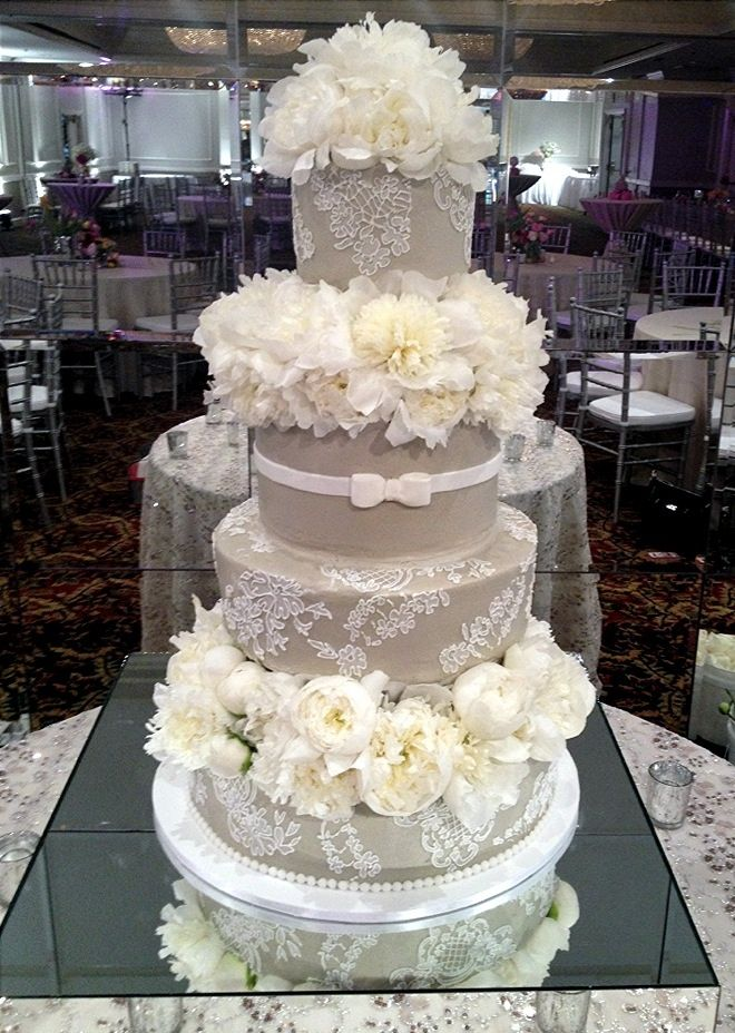 Taupe and White Wedding Cake with Flowers