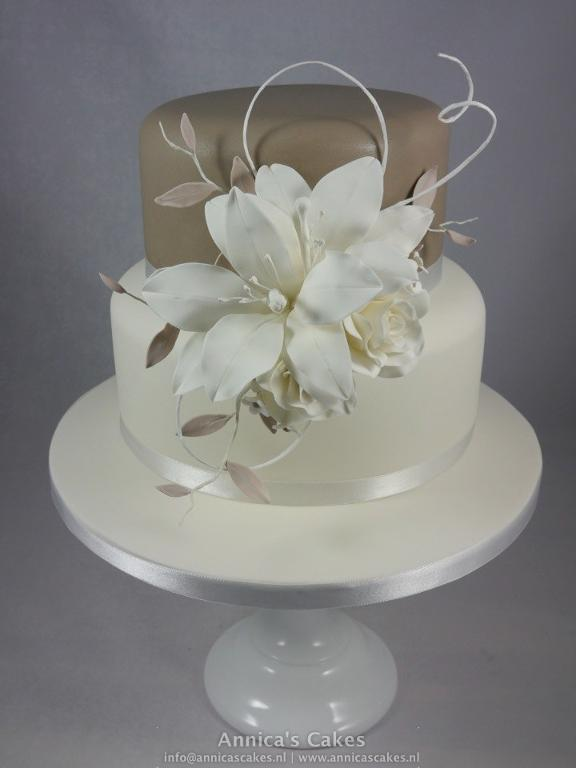 Taupe and White Wedding Cake