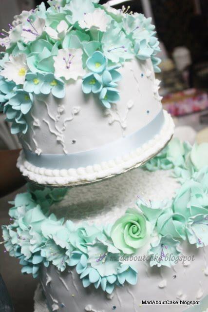 Turquoise 2 Tier Wedding Cake