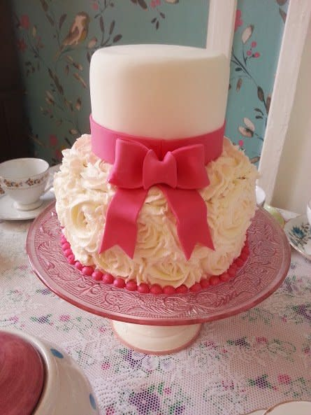 Two Tier Buttercream Wedding Cakes Roses