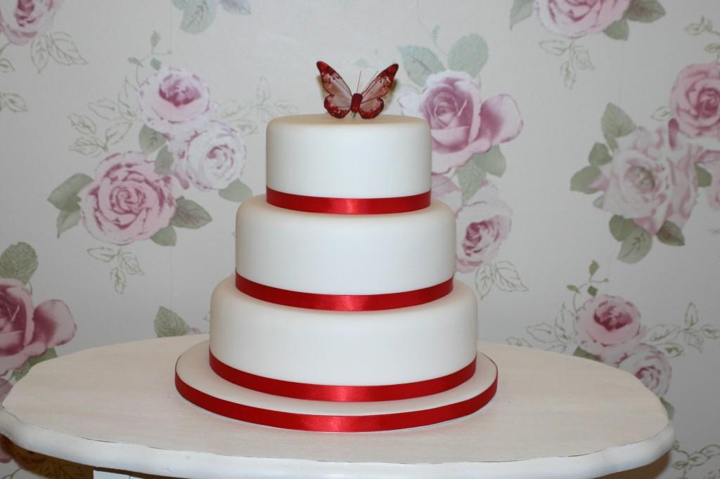 Wedding Cake Red Ribbon Bakery