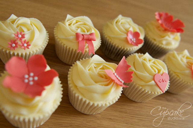 White and Coral Wedding Cupcakes