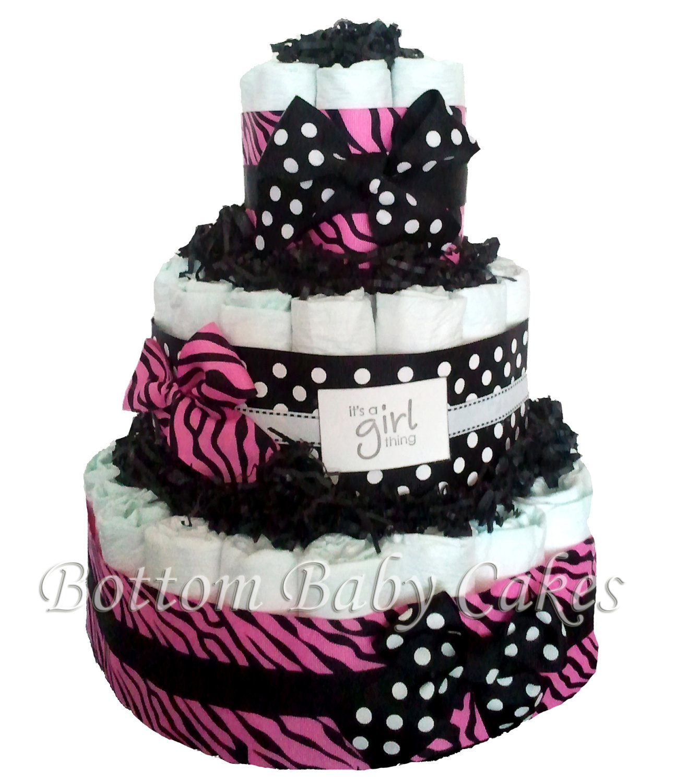 Zebra Baby Shower Diaper Cake