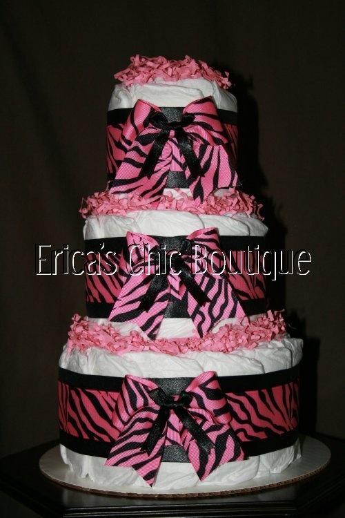 Zebra Baby Shower Diaper Cakes for Girls