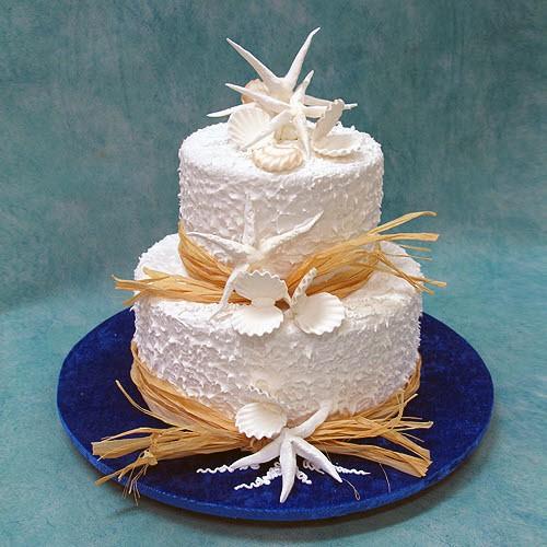2 Tier Wedding Cakes with Beach