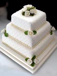3 Tier Square Wedding Cake with Flowers