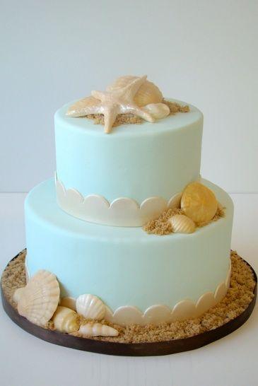 Beach Themed Two Tier Wedding Cake
