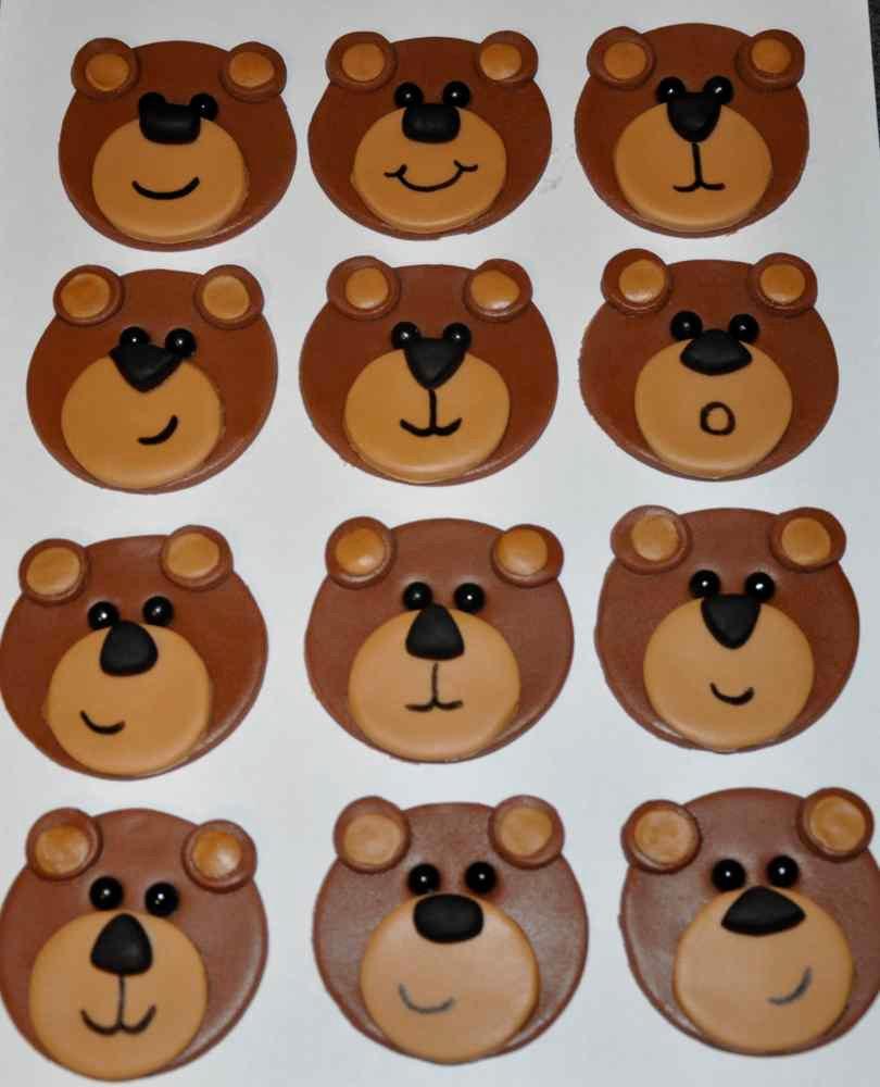 Bear Fondant Cupcake Toppers