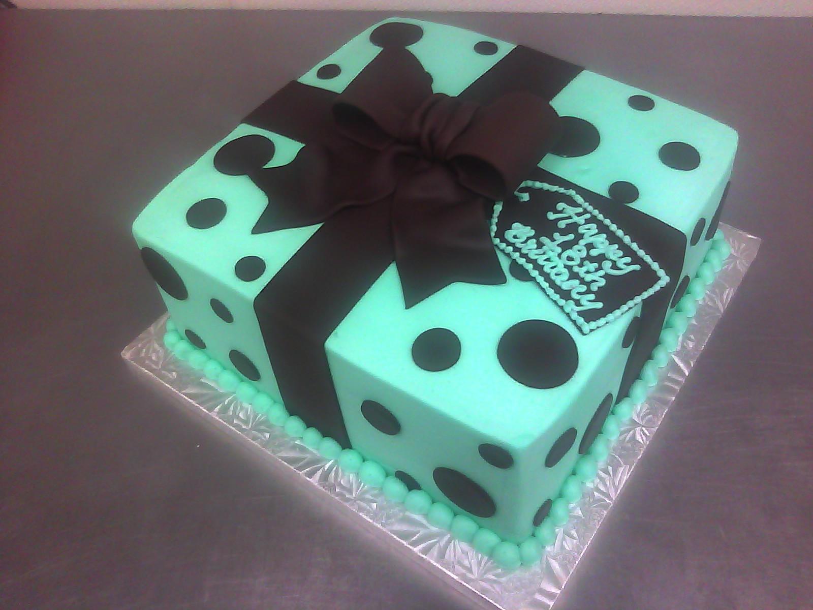 Birthday Present Teal Cake