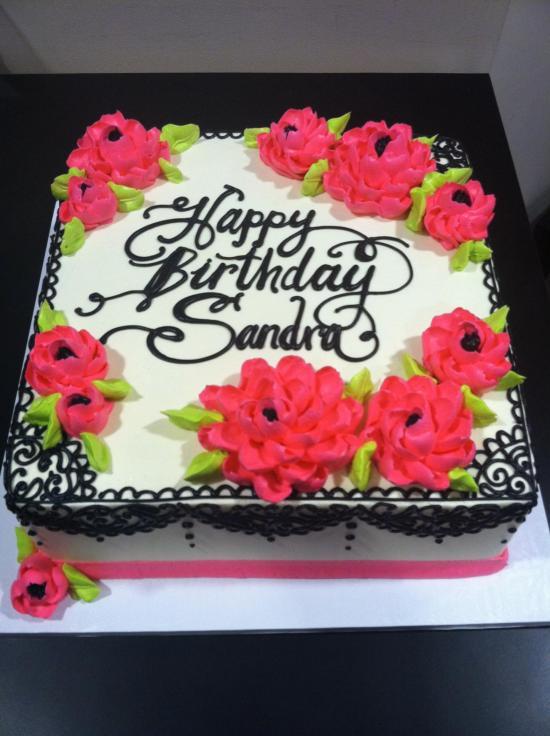 Birthday Sheet Cake with Flowers