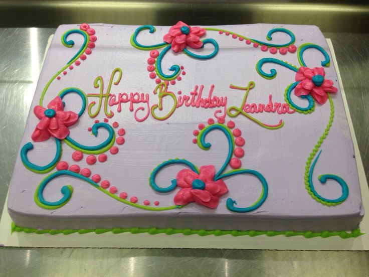 Birthday Sheet Cakes with Flowers Ideas