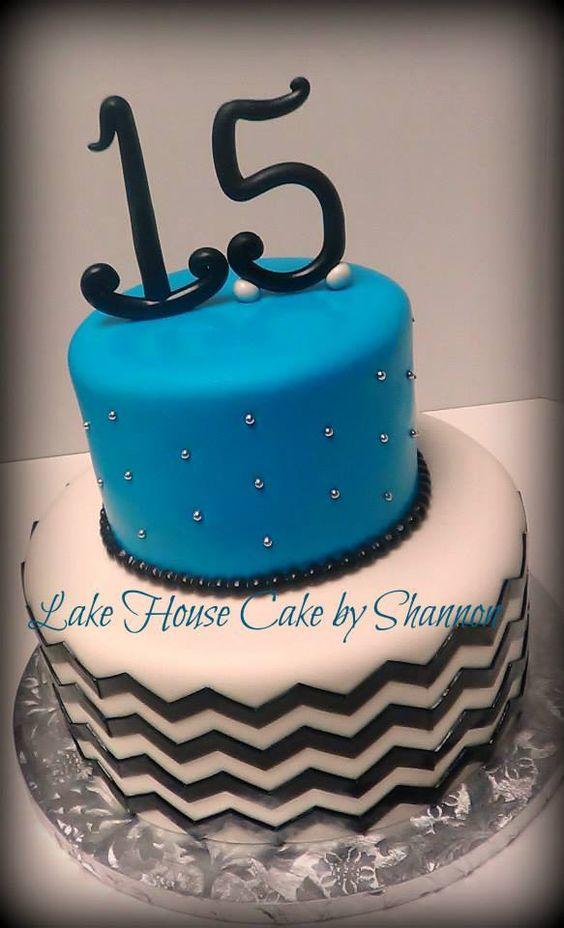 Black and Teal Chevron Birthday Cakes