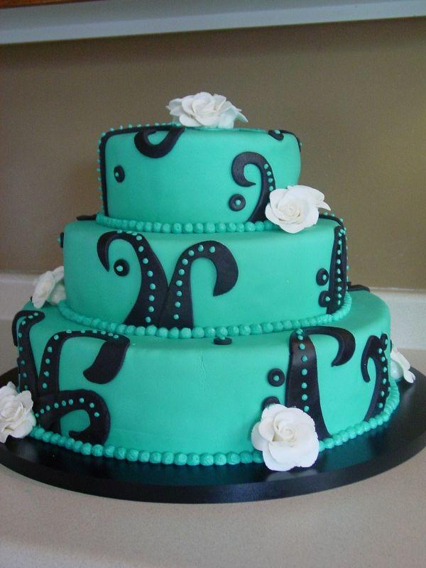 Black and Teal Wedding Cake
