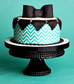Black and Turquoise Birthday Cake
