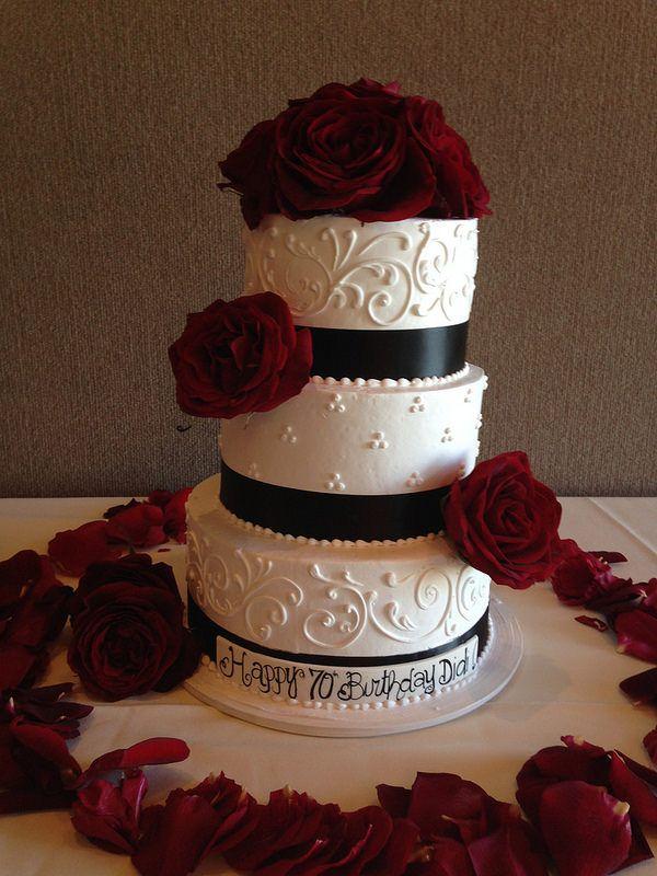 Black and White 70th Birthday Cake