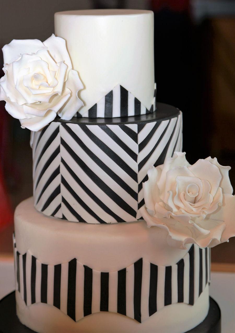 Black and White Chevron Birthday Cake