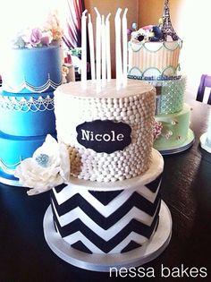 Black and White Sweet 16 Cake
