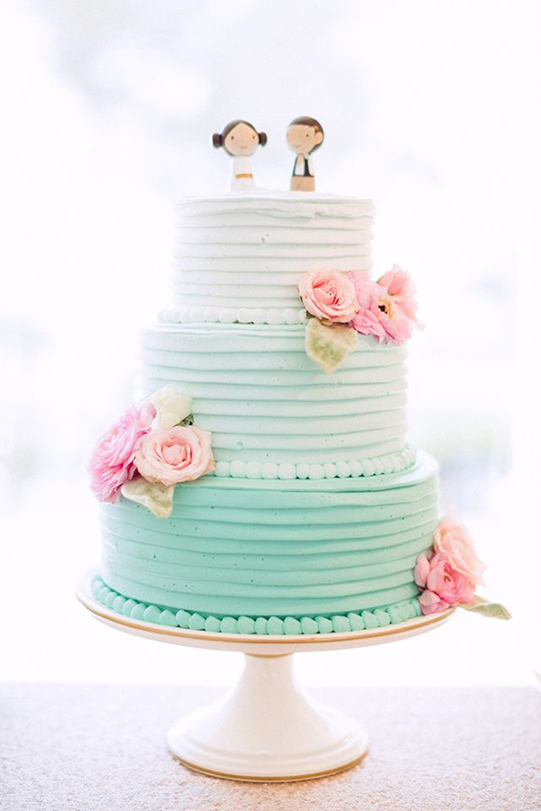 Blue and Pink Ombre Wedding Cake