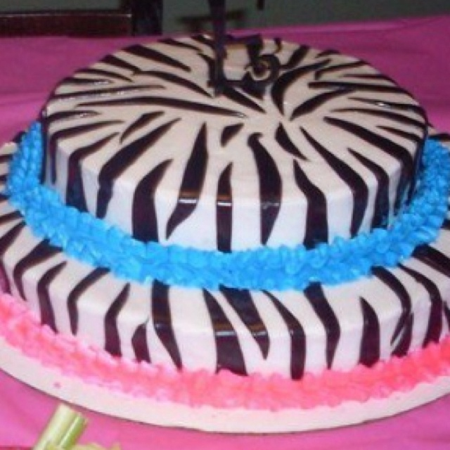 Blue and Pink Zebra Print Cakes