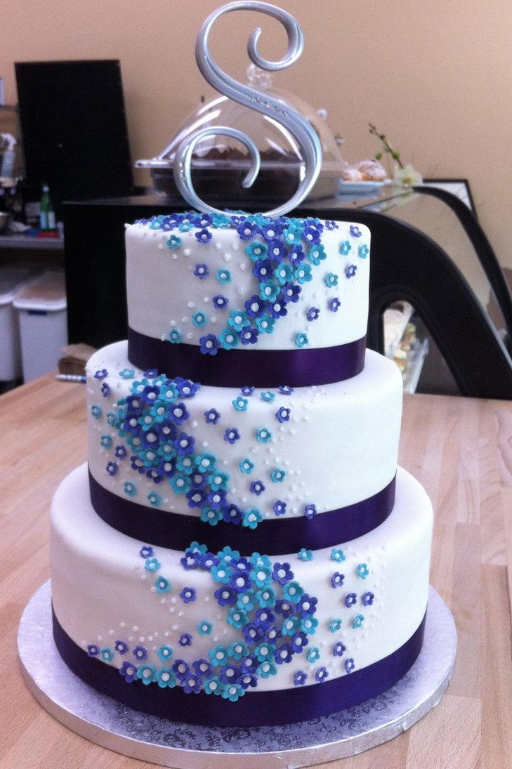 Blue and Purple Flower Wedding Cake