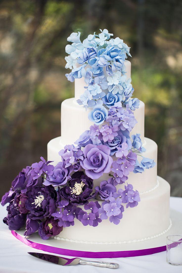 Blue and Purple Wedding Cake