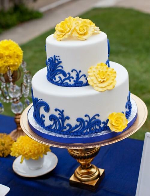 Blue and Yellow Wedding Cake Ideas