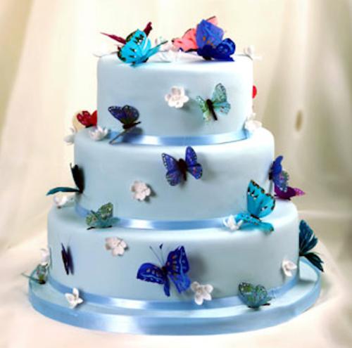 Blue Wedding Cake with Butterflies