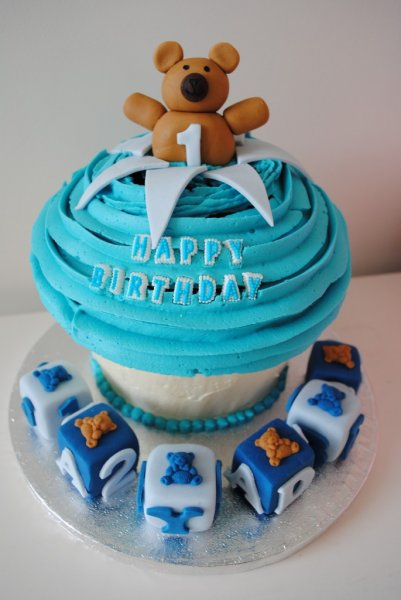 Boy 1st Birthday Giant Cupcake Cake