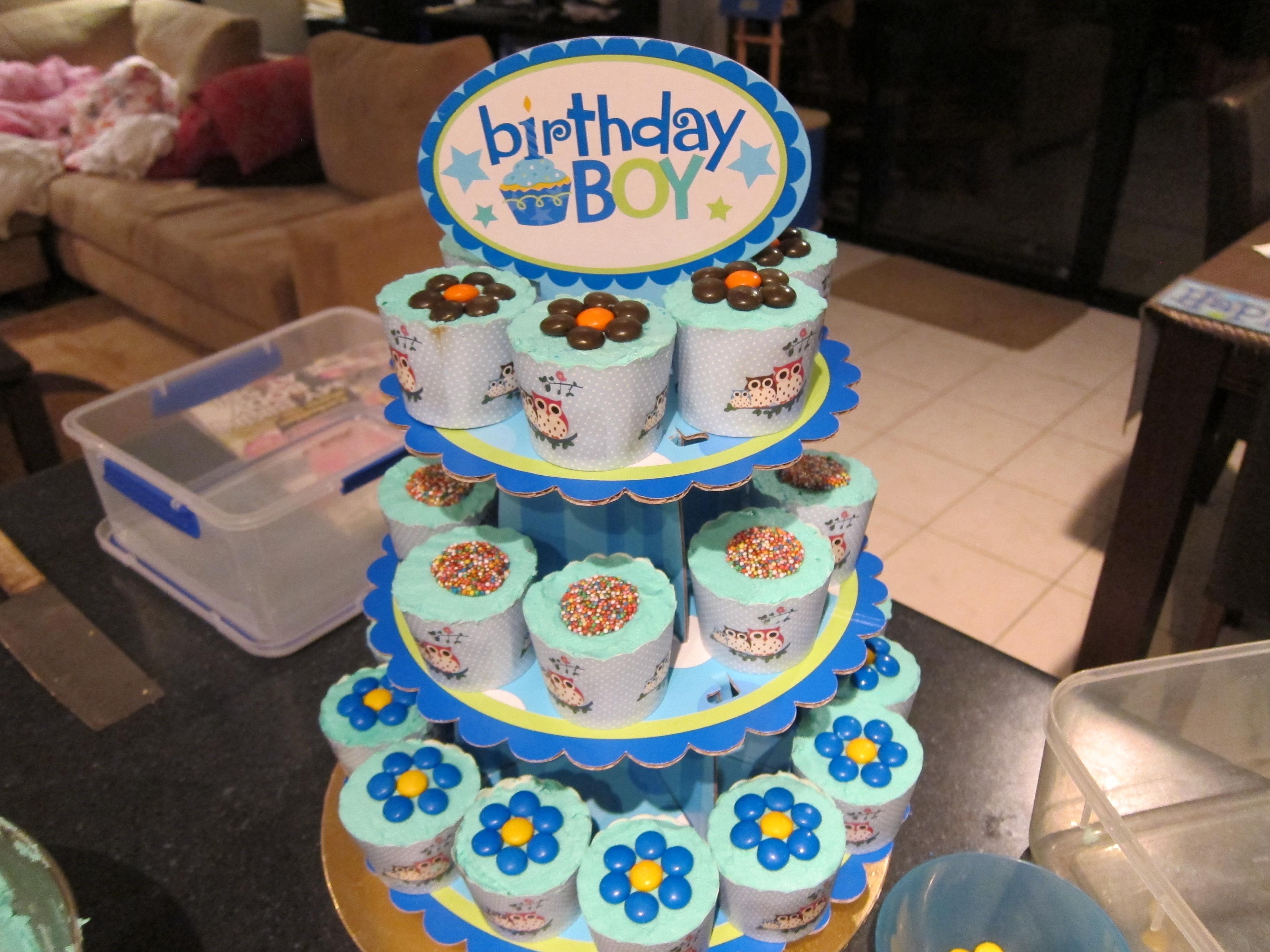 Boys 1st Birthday Cupcake Cake