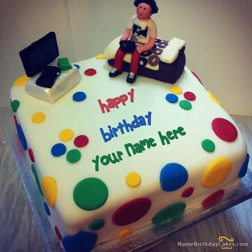 Boys Happy Birthday Cake with Name