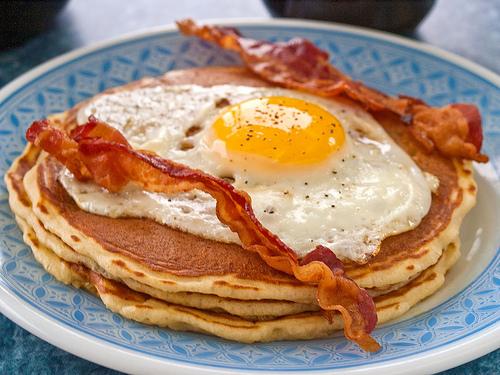Breakfast Pancake Eggs and Bacon