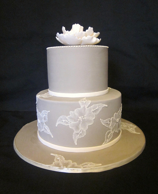 Brushed Embroidery Wedding Cake With