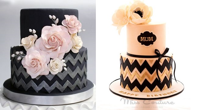 Chevron Pattern Birthday Cake